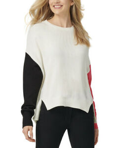 DKNY Women's Pink/Black/White Color Block Long Sleeve High Low Sweater Size: M