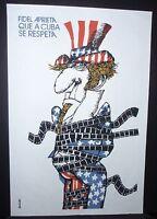 UNCLE SAM / Cuban Silkscreen Poster for Movie About US Embargo / CUBA COMICS ART