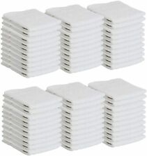 Bulk 60 Pack of Washcloths - 12 x 12 White Fingertip Towels - Quick-Dry Cotton