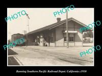 OLD HISTORIC PHOTO OF BANNING CALIFORNIA, SOUTHERN PACIFIC RAILROAD DEPOT c1910