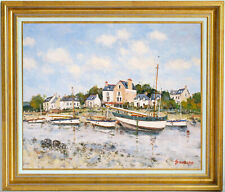 JEAN-PIERRE DUBORD~LISTED ARTIST~FISHING BOATS IN BRITTANY~ORIGINAL OIL PAINTING