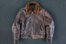 Vintage 40s 50s Leather Bomber Jacket Size M S WW2 A2 USN USAF US Navy Horsehide