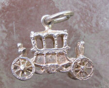 VINTAGE Sterling SILVER Bracelet Charm ROYAL Carriage MOVING Wheels  4.7 GR 3-D