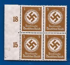 NAZI GERMANY 3Pf POST OFFICE 3rd Third Reich Swastika WM postage stamp block MNH