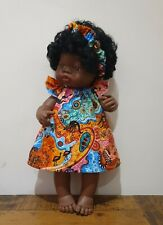 Miniland Doll Clothes indigenous aboriginal art print dress & scrunchie 38cm