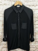 Silence Noise black button down shirt womens large sheer multi media tunic A4