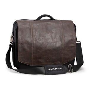 SLAPPA SL-SB-104-06 KIKEN Leather Laptop Bag 18' Brown Checkpoint Friendly NEW