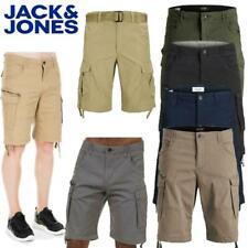 Jack & Jones Men's Cargo Shorts Knee Length Comfort Fit Multi Pockets Half Pants