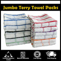 PACK 12 EXTRA LARGE JUMBO TERRY MULTI TEA TOWEL KITCHEN DISH CHECK 100% COTTON