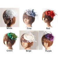 Women Vintage Flower Fascinator Hat Cocktail Headband Hair Clip Wedding Party