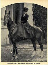 Prinzesssin Albert von Belgien geb. Herzogin in Bayern zu Pferde Bildd.von 1909
