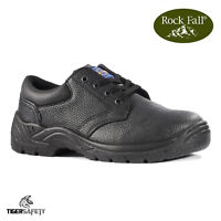 Rock Fall Pro Man Omaha S3 Black Leather Steel Toe Cap Chukka Safety Shoes PPE