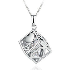 Women 925 Silver Crystal Pendant Love Rubik's Cube Necklace Jewelry Christmas