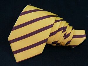 "ATKINSONS IRIS POPLIN  MEN'S TIE YELLOW, BURGUNDY/STRIPED 3.50"" 56"" ENGLAND"