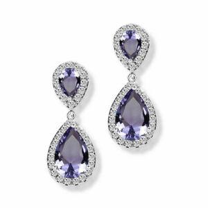 New White Gold Plated Amethyst Purple & Clear Teardrop CZ Stud Dangle Earrings