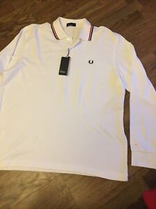 VINTAGE FRED PERRY WHITE LONG SLEEVE POLO SHIRT XLarge Twin TIPPED MOD GALLAGHER