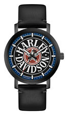 Harley-Davidson Men's Iconic Fat Boy Leather & Stainless Steel Watch 78A120