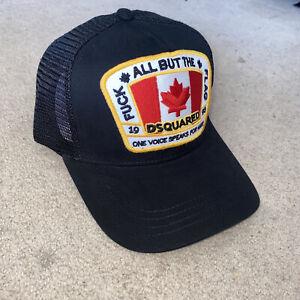 Dsquared Hat DSQ2 One Size Cap *NEW 2021* Adjustable Unisex Black ICON Hat Flag