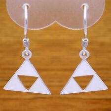 Solid 925 Sterling Silver Stunning Legend of Zelda Triforce Dangle Hook Earrings