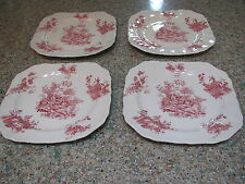 "Johnson Bros. red tsfrware Pastorale Toile De Jouy 4-7 3/4"" square plates-Eng"