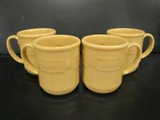 4 Yellow Longaberger Pottery Cups/Mugs