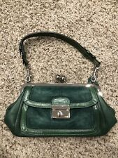 COACH 9734 GREEN LEATHER SUEDE KISSLOCK FRAMED PURSE VINTAGE SATCHEL BAG RARE!