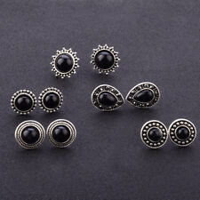 5 Pairs/set Gothic Womens Black Gem Stone Ear Studs Set Earrings Jewelry