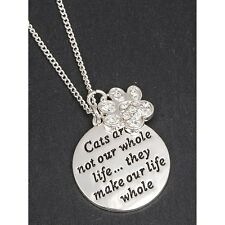 equilibrium silver plated cat paw print locket necklace gift boxed jewellery