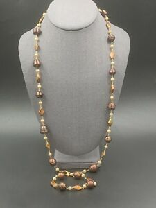 """14k Bronze Pearl Necklace Chain Link 38"""" 🔥"""