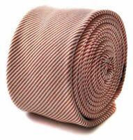 Frederick Thomas orange and white pin striped skinny linen wool tie