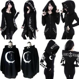 Women Gothic Punk Skull Hoody Tunic Dress Zip Up Coat Sweatshirt Cosplay Costume
