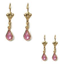 Paire de Boucles d'oreilles Gouttes d'eau Plaqué Or et Cristal rose