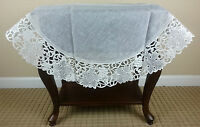 "White Leaves Embroidered 36"" Round Organza Sheer Fabric Embroidery Tablecloth"
