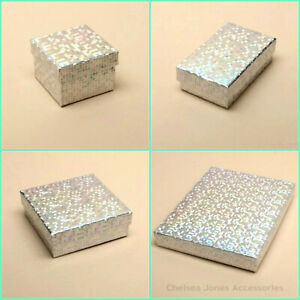 12 x Pack Silver Holographic Foil Gift Boxes - Wholesale Bulk Buy Jewellery