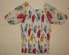 Milano Floral Blouse Shirt Top Size XL White Green Yellow Red Pleated Spring