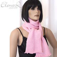 Sciarpa donna in merinos a maglia ROSA artigianale