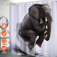 72 inch 3D Elephant Shower Curtain Waterproof Fabric Bathroom Decor w/ 12 Hooks