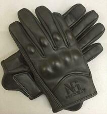 Men Motorcycle Short Summer Gloves Racing Black Leather Knuckle Protection