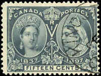 Used 1897 Canada F+ Scott #58 15c Diamond Jubilee Stamp