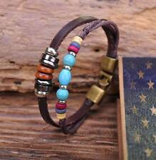 G63 Bronze Surfer Hemp Leather Wood Stone Beads Bangle Bracelet Cuff Turquoise