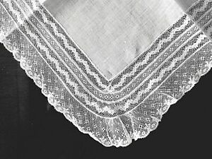 """Antique HANKY French Netted Lace Trim ~ White Batiste 11"""" ~ Mother's Day/Bridal"""