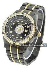 men's Elgin black gold tone clubbing calendar bling watch gift box Priority