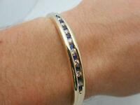 Nice & Heavy 14k Yellow Gold Over Diamond & Blue Sapphire Bangle Bracelet