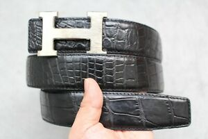 No Jointed - Black Genuine Alligator CROCODILE Leather SKIN Men's Belt - W 1.5""