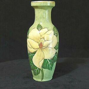 Vintage Ceramic Vase Green w/White Magnolia Bloom Design Gold Rim Preowned