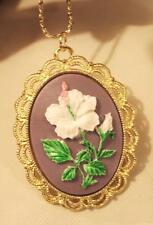 Lacy Scalloped Rim Violet Purple White Hibiscus Flower Cameo Pendant Necklace