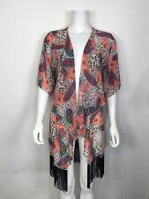 LuLaRoe Monroe Kimono Floral Sheer Open Front Black Fringe Cardigan Size S Small