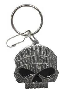 Harley-Davidson Willie G Sugar Skull Logo Enamel Key Chain, Silver 4382