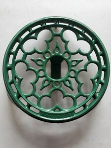 """Le Creuset Cast Iron Green Footed Warming Trivet France 8.75"""""""