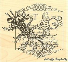 Christmas Holly Letter Wood Mounted Rubber Stamp IMPRESSION OBSESSION H13242 New